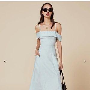 Pale blue linen Reformation dress